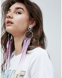 ASOS - Asos Statement Ombre Tassel Hoop Earrings - Lyst
