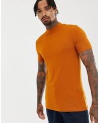 ASOS - Muscle Fit T-shirt With Turtleneck In Brown - Lyst