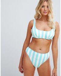 Figleaves Stripe High Leg Bikini Bottom