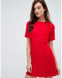 Fashion Union - Dress With Ruffles & Pleat Detail - Lyst