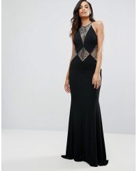 Jovani - Fishtail Maxi Dress With Cut Out Lace Detail - Lyst