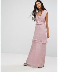 Lost Ink - Maxi Dress With Frills - Lyst