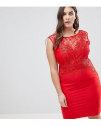 Lipsy - Lace Applique Bodycon Dress - Lyst