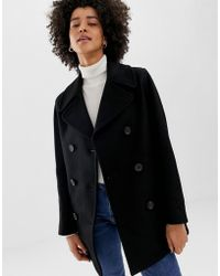 Gloverall - Reefer Double Breasted Coat In Wool Blend - Lyst