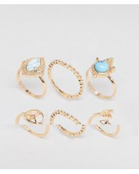 ASOS - Design Pack Of 6 Mixed Stone And Peace Sign Rings - Lyst
