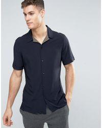 Mango - Man Short Sleeve Regular Fit Shirt In Navy - Lyst