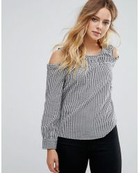ONLY - Cold Shoulder Gingham Top - Lyst