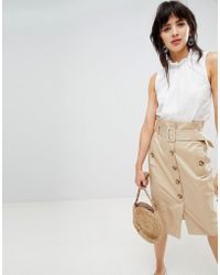 Warehouse - Sleeveless Blouse With High Neck In White Broderie - Lyst