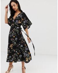 Liquorish - Floral Midi Dress With Waterfall Sleeves - Lyst