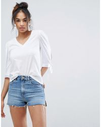 ASOS - Top With V-neck And Pretty Tie Sleeve Detail - Lyst