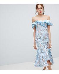 Jarlo - Frill Cutwork Lace Off Shoulder Stepped Hem Midi Dress - Lyst