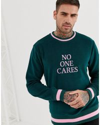 ASOS Sweatshirt With Slogan Text Print In Towelling - Green