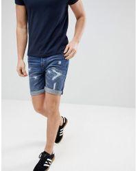 Produkt - Denim Shorts With Distressing - Lyst