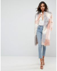 ASOS - Patched Faux Fur Mongolian Coat - Lyst