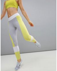 Asics - Training Colourblock Legging In Grey And Lime - Lyst