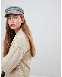 Monki - Check Baker Boy Hat In Grey - Lyst