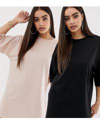 e4c4f63c40802f Missguided - Exklusive Basic-T-Shirt-Kleider im Oversize-Stil in Schwarz