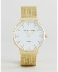 Christin Lars - Gold Watch With Round Dial With White Dial - Lyst