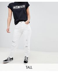 Noisy May Tall | Destroyed Knee Mom Fit Jeans | Lyst