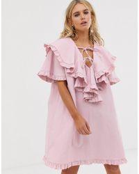 Sister Jane Mini Smock Dress With Ruffle Bib Layer - Pink
