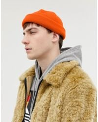 ASOS - Mini Fisherman Beanie In Orange - Lyst