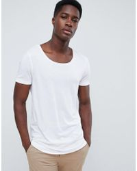 ASOS - T-shirt With Scoop Neck In White - Lyst