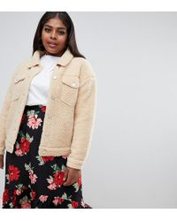 Missguided - Borg Teddy Jacket In Nude - Lyst