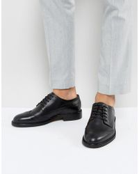 SELECTED - Baxter Leather Brogue Shoes In Black - Lyst