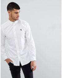 PS by Paul Smith - Tailored Fit Zebra Logo Shirt In White - Lyst