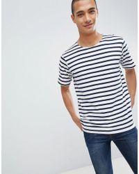 Mango - Man Striped T-shirt In Blue - Lyst
