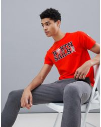 North Sails - Slim Fit Text Logo T-shirt In Red - Lyst