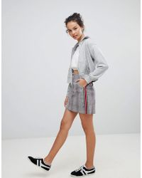 Hollister - Prince Of Wales Checked Mini Skirt With Side Stripe - Lyst