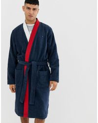 Tommy Hilfiger Towelling Bathrobe With Icon Shawl Collar In Navy