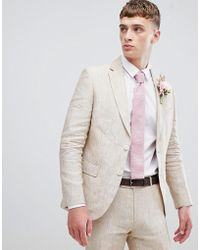 Moss Bros - Moss London Skinny Suit Jacket In Cream Linen - Lyst