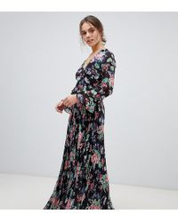 b671fa7289 ASOS Pleated Maxi Dress With Flutter Sleeve In Floral Print - Lyst