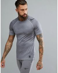 Nike - Pro Hypercool Fitted T-shirt In Grey Camo 888291-027 - Lyst