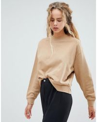 Weekday - Huge Cropped Sweatshirt In Stone - Lyst