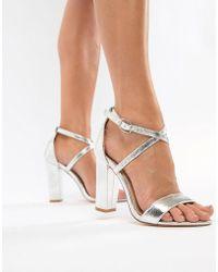 Glamorous - Metallic Cross Strap Block Heel Sandals In Silver - Lyst