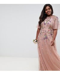 ASOS - Asos Design Tall Floral Embroidered Dobby Mesh Flutter Sleeve Maxi Dress - Lyst