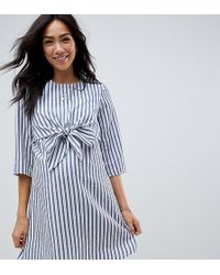 ASOS - Asos Design Maternity Tie Front Nursing Mini Dress In Stripe - Lyst