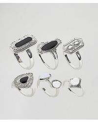 ASOS - Asos Design Curve Pack Of 6 Enamel And Faux Moonstone Rings - Lyst