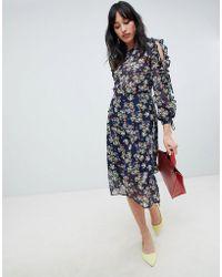 UNIQUE21 - Unique 21 Floral Long Sleeve Midi Dress - Lyst