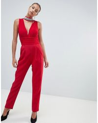 Forever Unique - Tailored Jumpsuit With Embellished Detail - Lyst