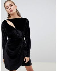 Fashion Union - Bodycon Dress With Cut Out In Velvet - Lyst