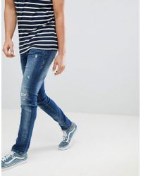Blend - Cirrus Distressed Skinny Jeans In Mid Wash Blue - Lyst