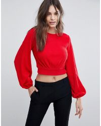 Fashion Union - Balloon Sleeve Cropped Knitted Jumper - Lyst