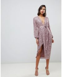 ASOS - Midi Dress In Allover Scatter Sequin With Ribbon Tie Waist - Lyst