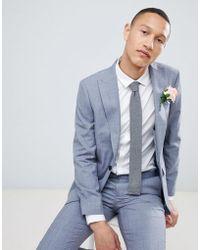 Moss Bros - Moss London Skinny Suit Jacket In Blue Wool Mix - Lyst
