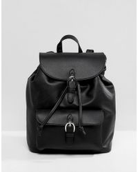 Pull&Bear - Buckle Detail Rucksack In Black - Lyst