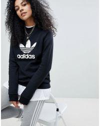 a8024eeb0935 adidas Originals - Originals Adicolor Trefoil Oversized Sweatshirt In Black  - Lyst